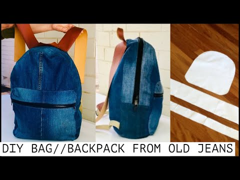 DIY BAG/JEANS BACKPACK TUTORIAL FROM SCRATCH/OLD JEANS RECYCLE IDEA/DIYバッグ/กระเป๋า
