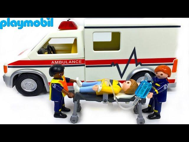 PLAYMOBIL AMBULANCIA DE RESCATE CON FIGURAS DE MEDICOS Y PACIENTE - ACCIDENTE EN LA CARRETERA