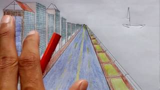 How to Draw the City by the river in  One Point perspectives