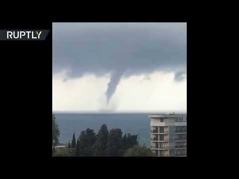 RAW: Huge waterspout plows through Black Sea near Sochi