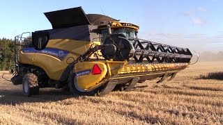 New Holland CR 9.90 And CR 9090 Combine Harvesters In The Spring Wheat