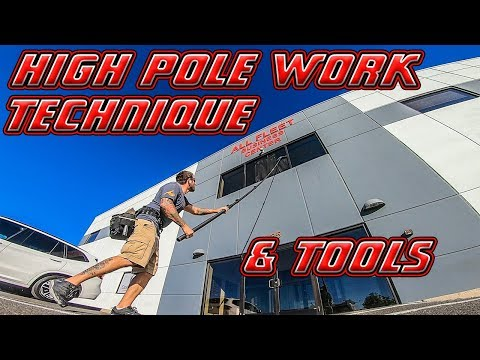 HIGH WINDOW CLEANING POLE WORK TECHNIQUE & TOOLS