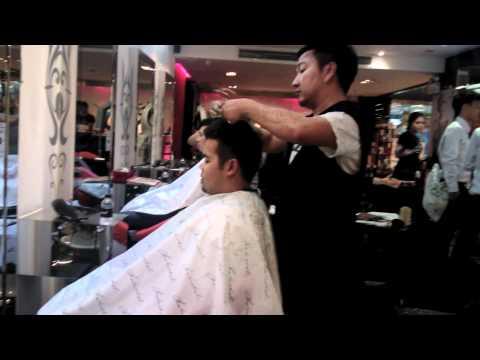 Mark gets a haircut inside Bangkok's Siam Center Mall