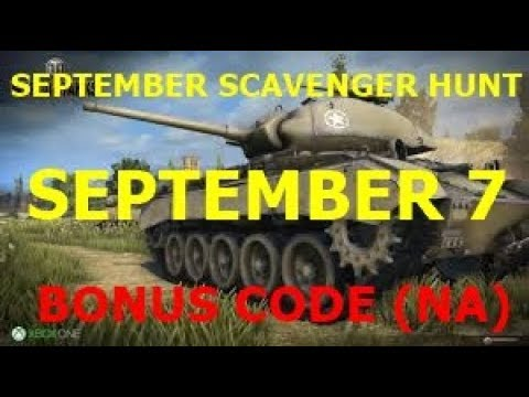 Wot September Scavenger Hunt Bonus Code NA || September 7