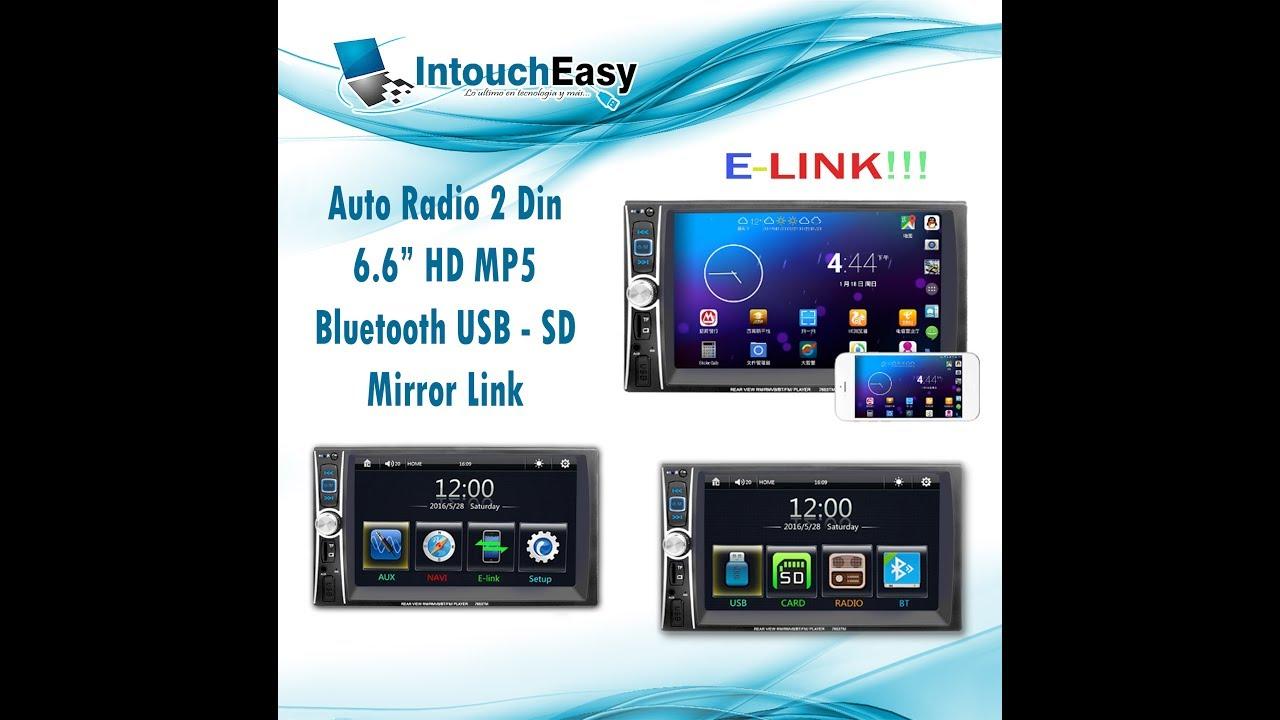 "Cam EK 6.6/"" 2 DIN Auto Car MP5 MP3 Player Bluetooth Touch USB FM Stereo Radio"