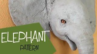 Baby Elephant - Paper Mache Wall Sculpture Pattern