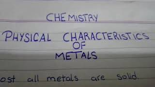 Physical characteristics of Metal|Chemistry|knowledge channel|Pakistan|