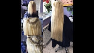 Наращивание волос. Микрокапсульное наращивание волос. hair extensions