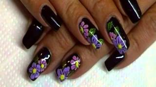 Midnight flowers nailart
