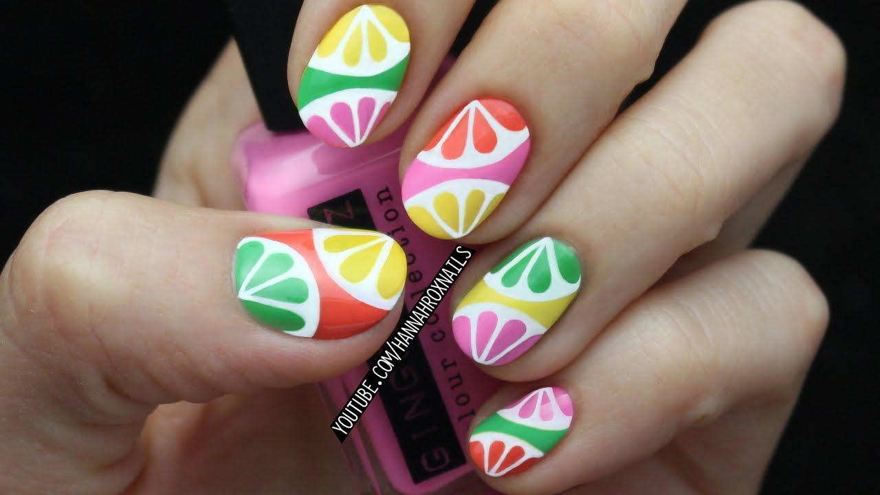 Tropical citrus nail art youtube tropical citrus nail art prinsesfo Gallery