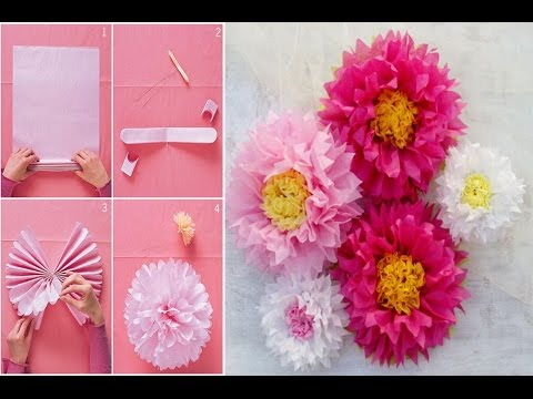 How to make a giant tissue paper flower very easily wall art how to make a giant tissue paper flower very easily wall art room decor diy paper pom tutorial mightylinksfo