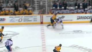 Colin Wilson runs over Jeff Petry