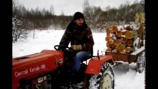китайский  трактор по русскому снегу