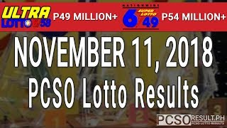 PCSO Lotto Results Today November 11, 2018 (6/58, 6/49, Swertres, STL & EZ2)
