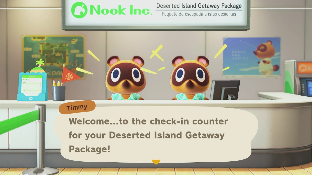 Animal Crossing New Horizons - Nook Inc Check In Counter: Meet Timmy and Tommy Intro Dialogue (2020) - YouTube