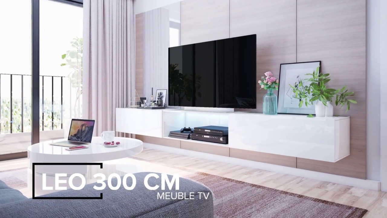 meuble tv suspendu leo jusqu 39 300cm youtube. Black Bedroom Furniture Sets. Home Design Ideas