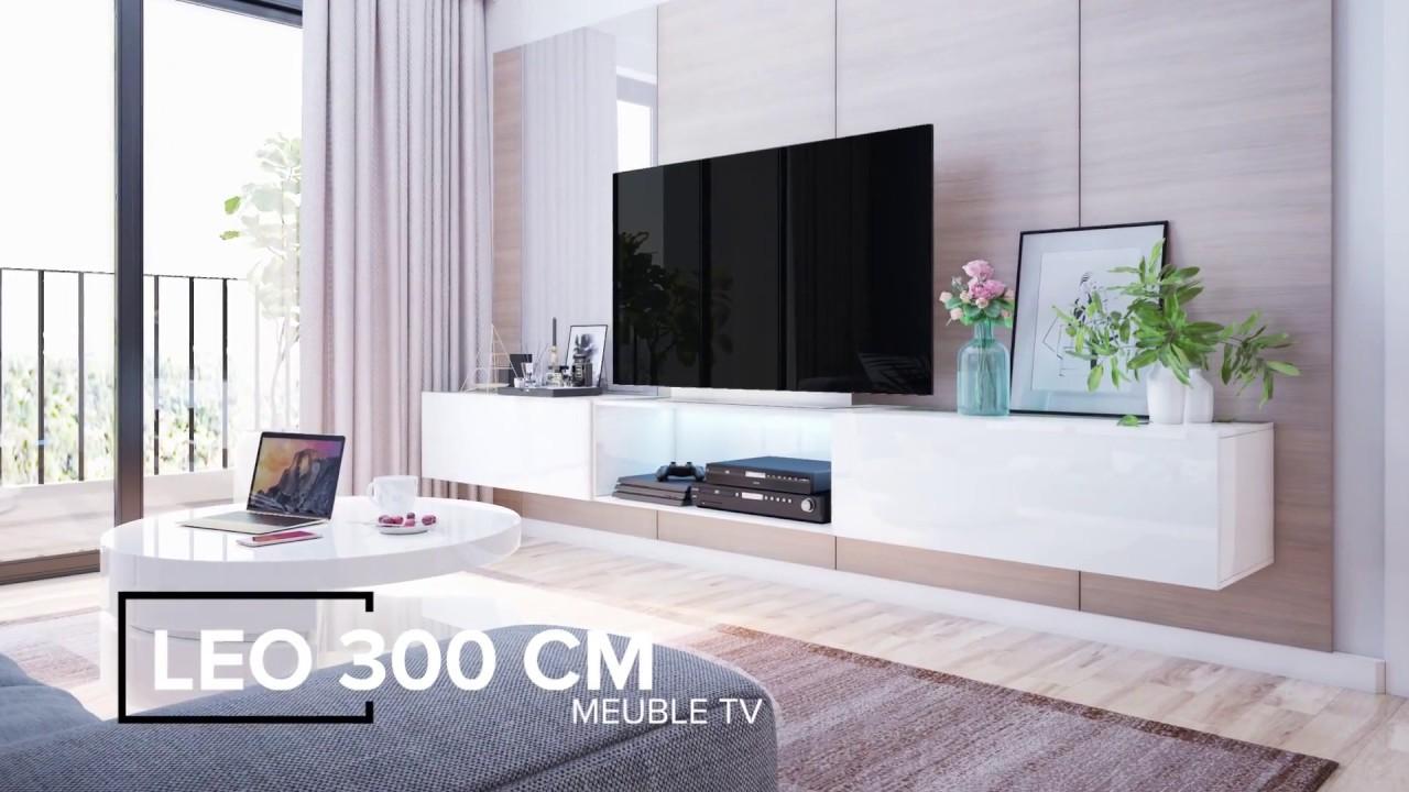 Meuble Tv Suspendu Leo Jusqu A 300cm Youtube