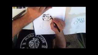Pierre Alary dibujando a Marta en las XVIII Jornadas del Cómic de Avilés