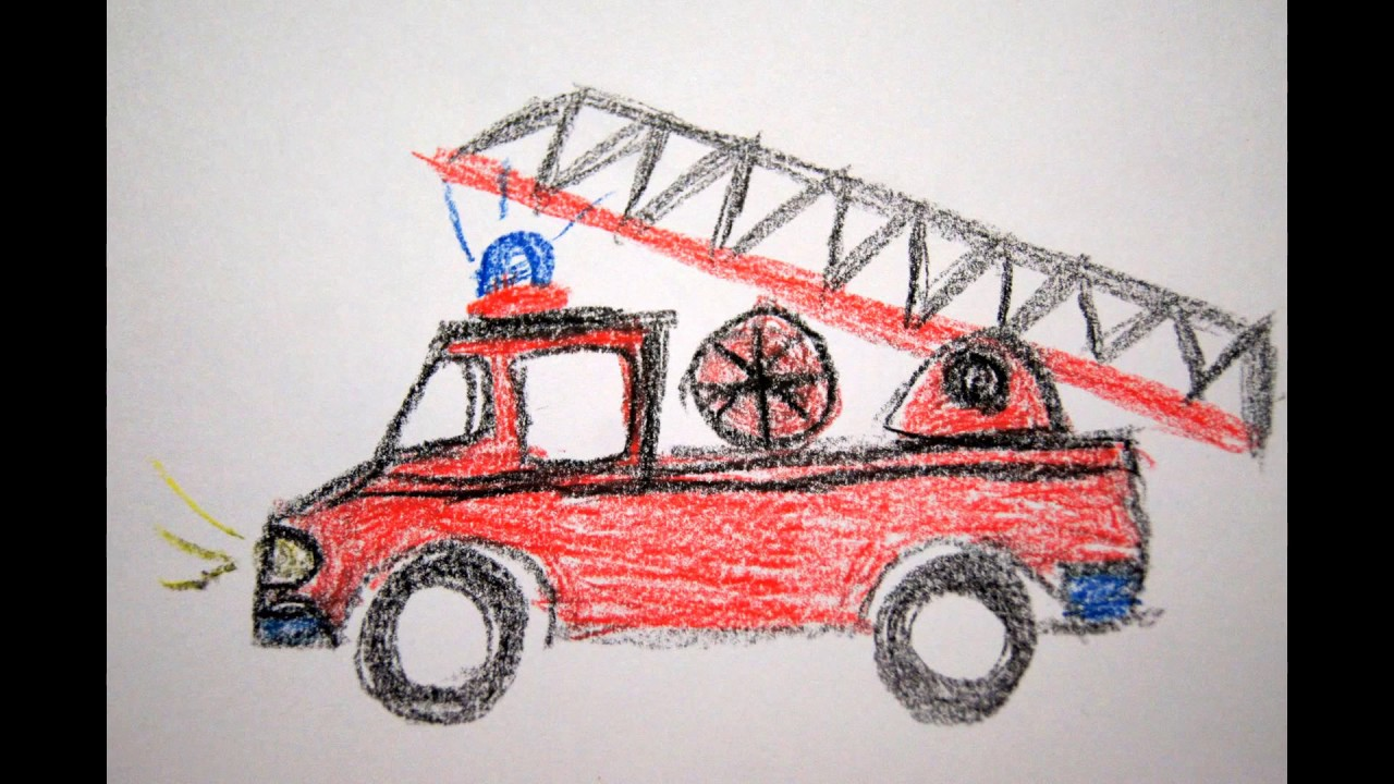 feuerwehrauto zeichnen f r kinder how to draw a firetruck. Black Bedroom Furniture Sets. Home Design Ideas