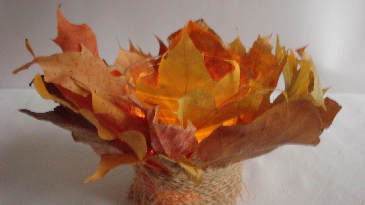 Bastelideen im Herbst Tischdeko selber machen Teelicht im
