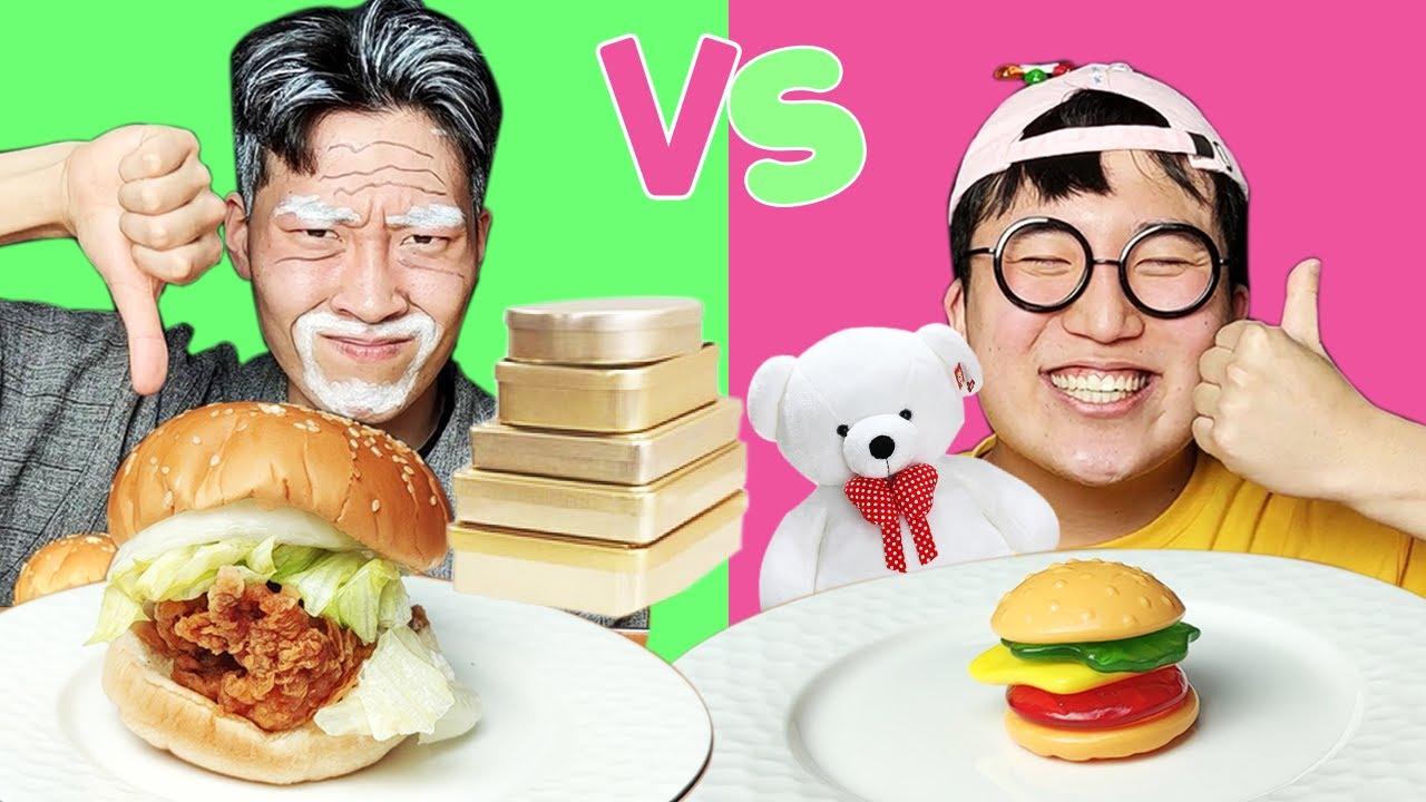 Download REAL FOOD VS JELLY CHOCOLATE FOOD CHALLENGE 진짜 초콜릿 챌린지 HUBA 후바