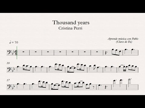 THOUSAND YEARS: Clave de Fa (trombón,chelo,fagot,contrabajo)(partitura/playback)