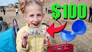 $100 Easter Egg!!! Huge Easter Treasure Hunt Surprise!!