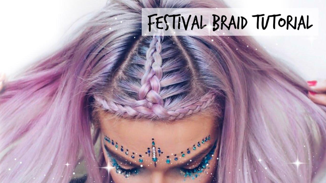 Music Festival Halo Braid Hair Tutorial | LoveFings - YouTube