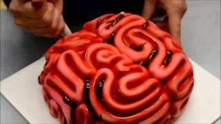 Украшение тортов | Украшение торта на хэллоуин в виде мозгов своими руками