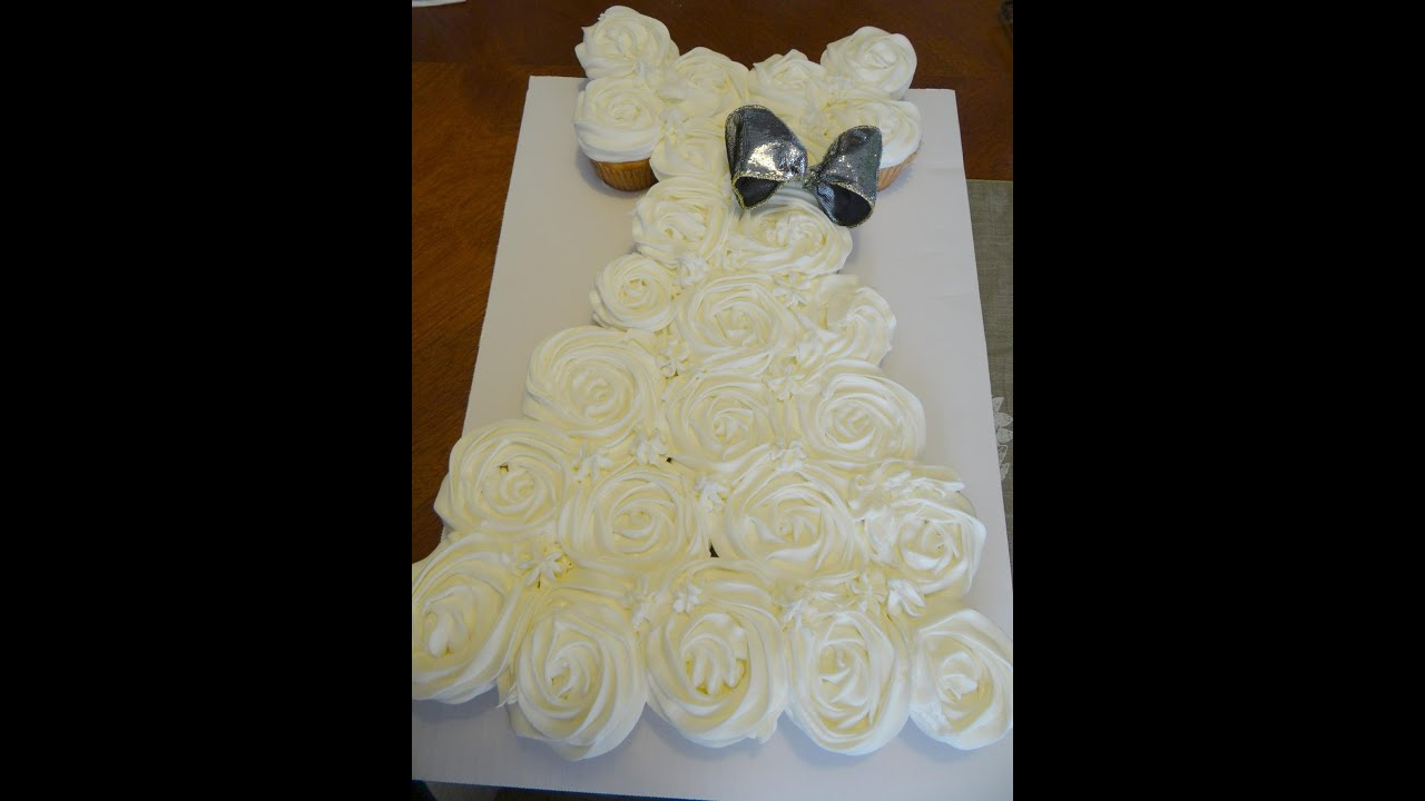 wedding gown pull-apart cupcake cake - youtube