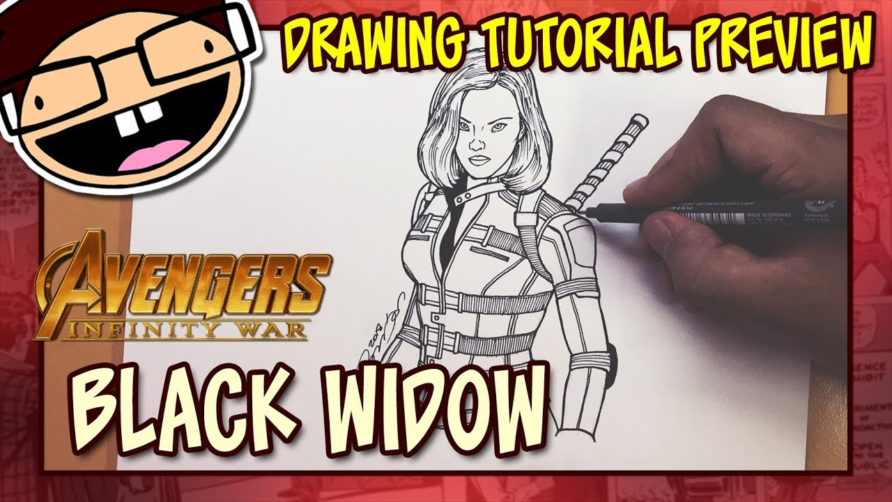 Preview How To Draw Black Widow Avengers Infinity War Drawing Tutorial Time Lapse
