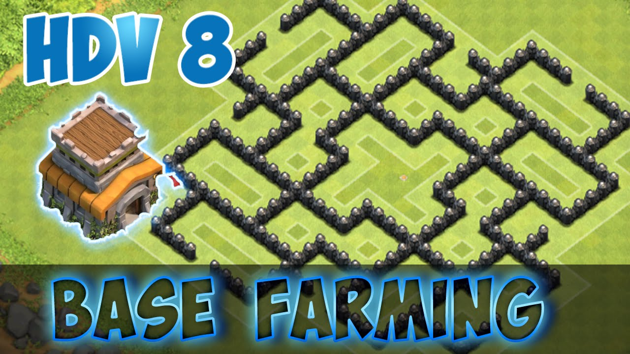 Hdv 8 farming clash of clans epic th 8 farming base youtube