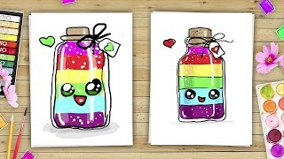 Doodle Coloring for KIDS Rainbow in a bottle