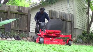 Mowing the lawn with my GRAVELY 36 Walk behind . Lawn care #1 part 1