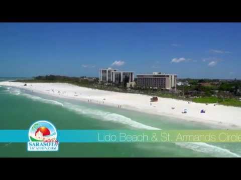 Lido Key Beach Aerial Video St. Armands Circle in Sarasota