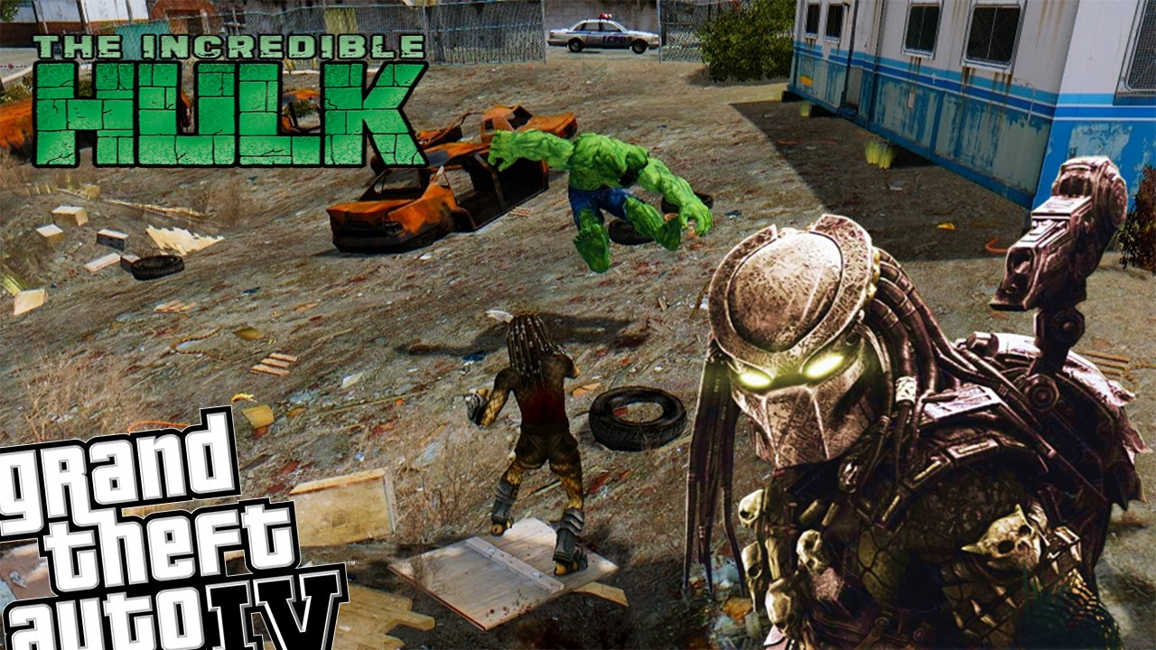 GTA IV Predator Mod + Incredible Hulk Mod - Epic Battle