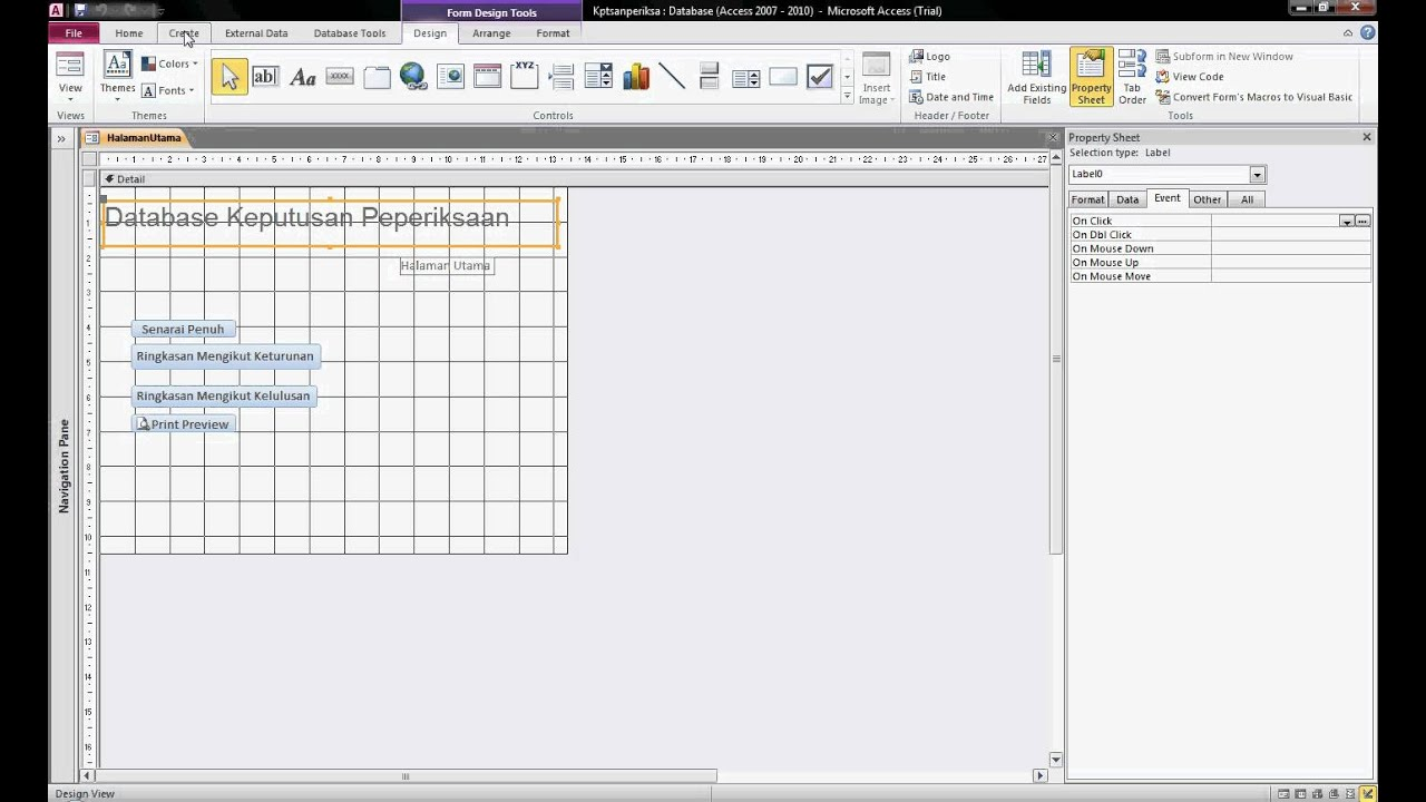 Ms access 2010 change from form view to design view avi