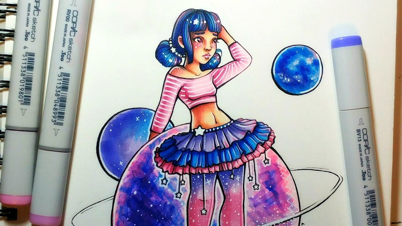 Art Talent Vs Skill Space Girl Speed Color Youtube