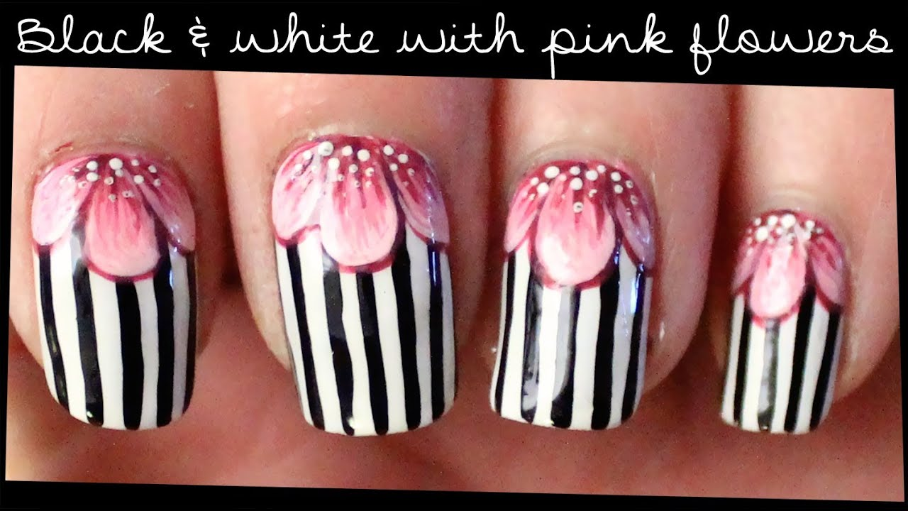 Black & White with Pink Flowers nail art - YouTube