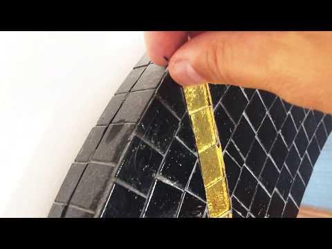 Mosaic tiles on wood