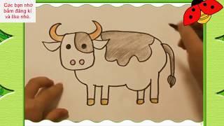 Bé tập vẽ và tô màu con bò sữa