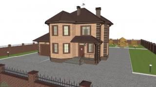 Проект типового двухэтажного дома с гаражом, кабинетом и 3-мя спальнями  C-108-ТП