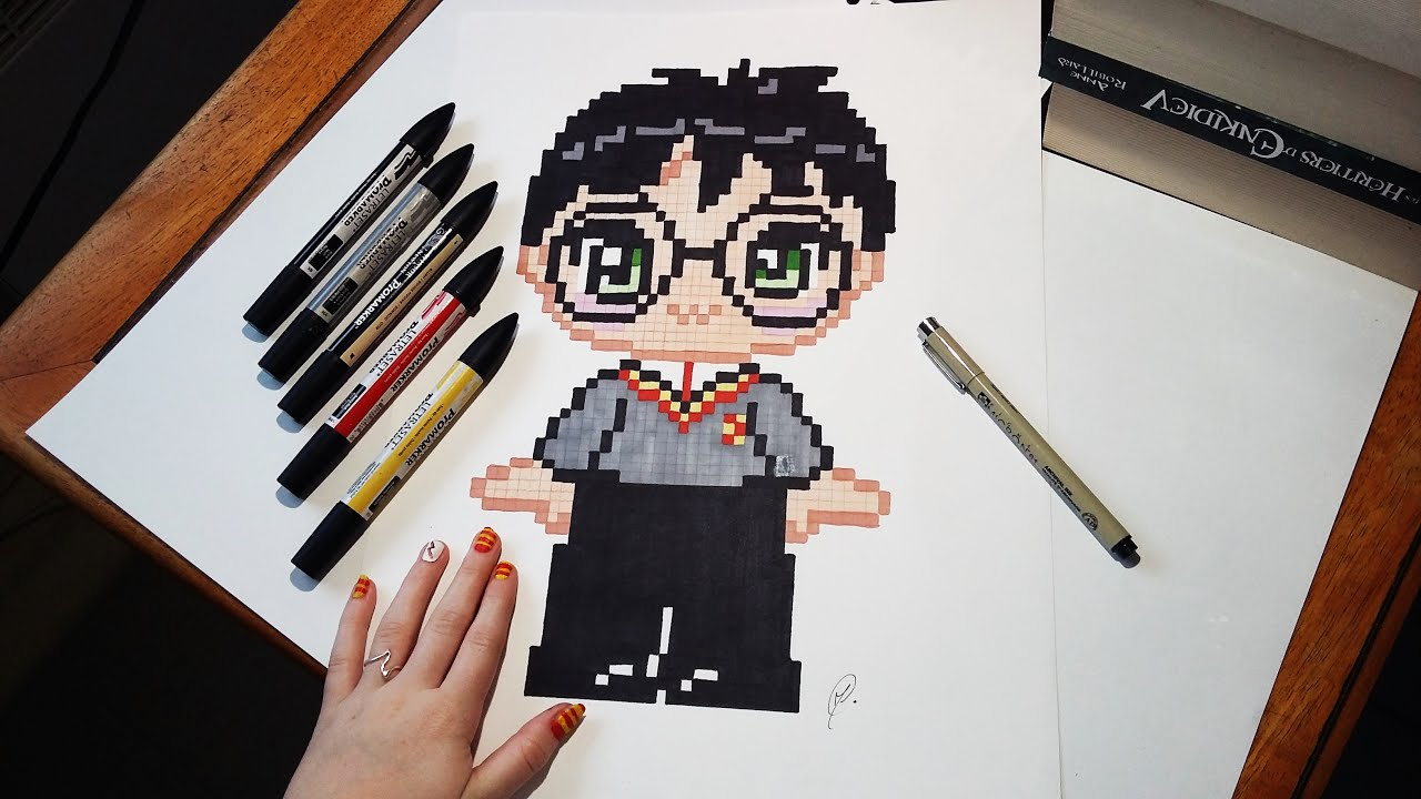 speed drawing cute harry potter pixel art youtube