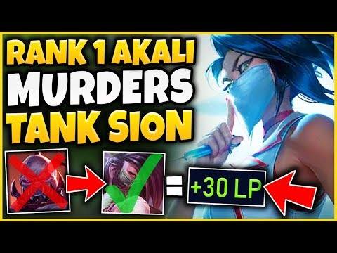 #1 AKALI WORLD SHOWS HOW TO FARM SION TOP (TANKS = FREE GOLD) - League of Legends