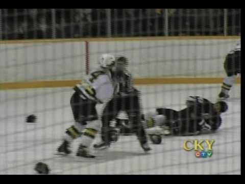 Selkirk Vs Portage Playoff Line Brawl MJHL 2004/05