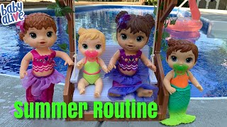 Baby Alive Mermaid Summer Routine Swimming in the Pool
