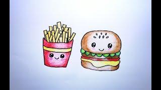 วาดรูป เฟรนฟราย แฮมเบอร์เกอร์ How To Draw Cute French Fries & Hamburger Cartoon Coloring Pages