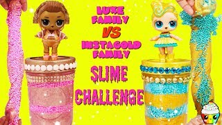 LOL Surprise INSTAGOLD Family VS LUXE Family SLIME CHALLENGE