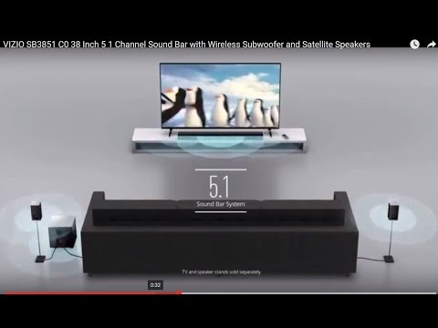 VIZIO SB3851 C0 38 Inch 5 1 Channel Sound Bar with Wireless Subwoofer and Satellite Speakers