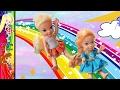 Anna and Elsa Toddlers Meet Barbie Rainbow Dreamtopia Sprites # 1 Magic Door  Toys In Action Dolls